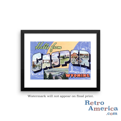 Greetings from Casper Wyoming WY Postcard Framed Wall Art
