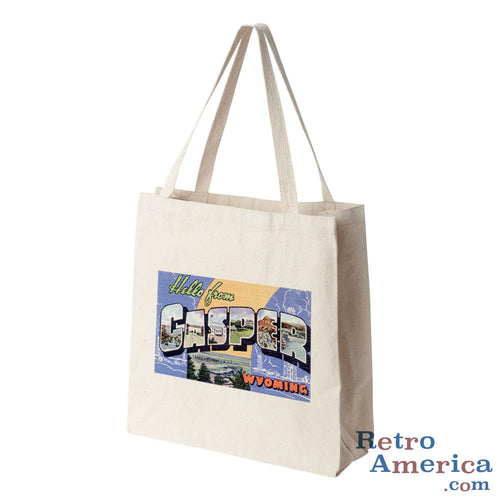 Greetings from Casper Wyoming WY Postcard Tote Bag