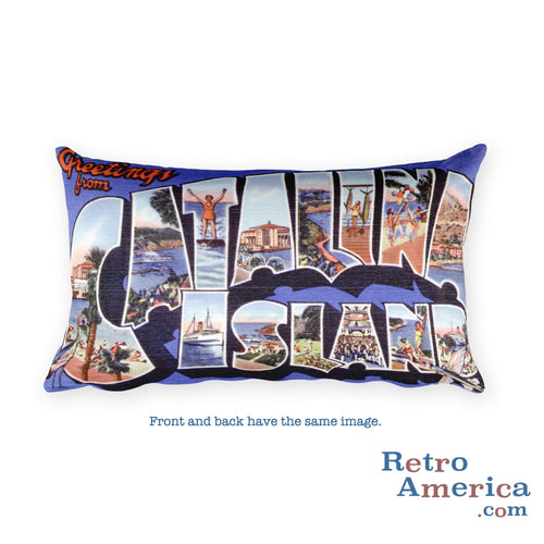Greetings from Catalina California Throw Pillow