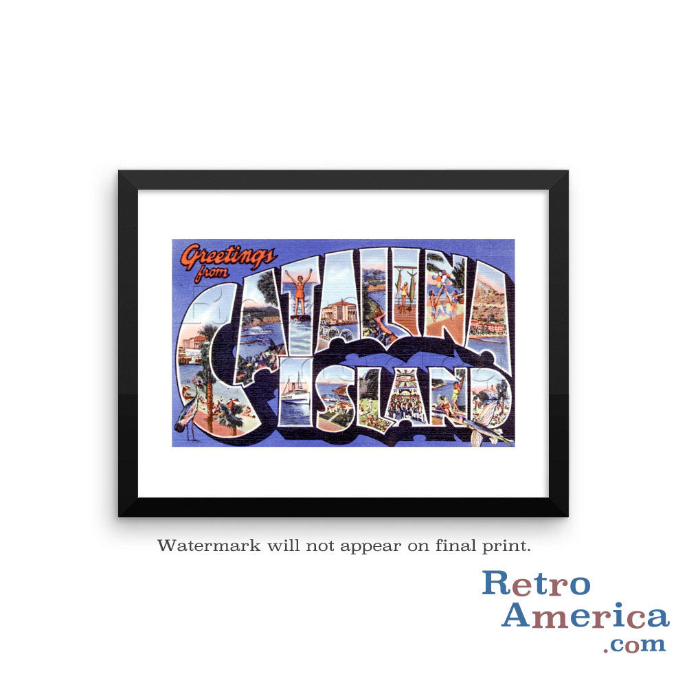 Greetings from Catalina Island California CA 1 Postcard Framed Wall Art
