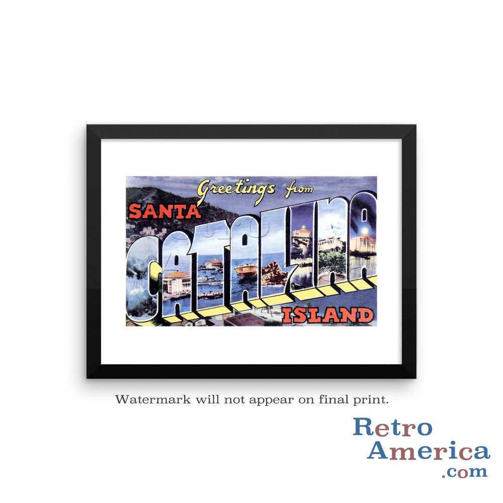 Greetings from Catalina Island California CA 2 Postcard Framed Wall Art