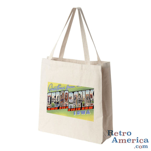 Greetings from Cedar Rapids Iowa IA Postcard Tote Bag
