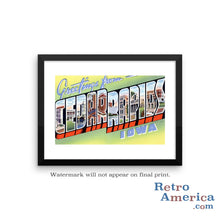 Greetings from Cedar Rapids Iowa IA Postcard Framed Wall Art