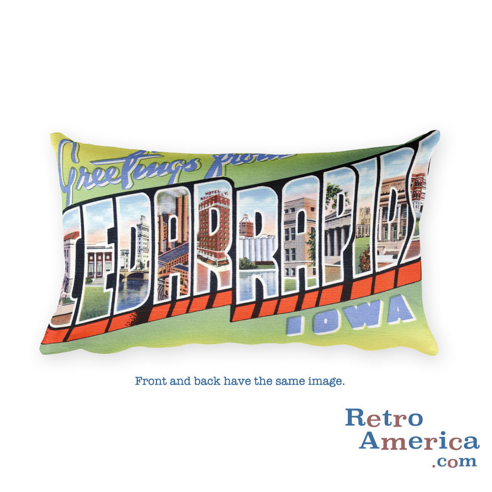 Greetings from Cedar Rapids Iowa Throw Pillow