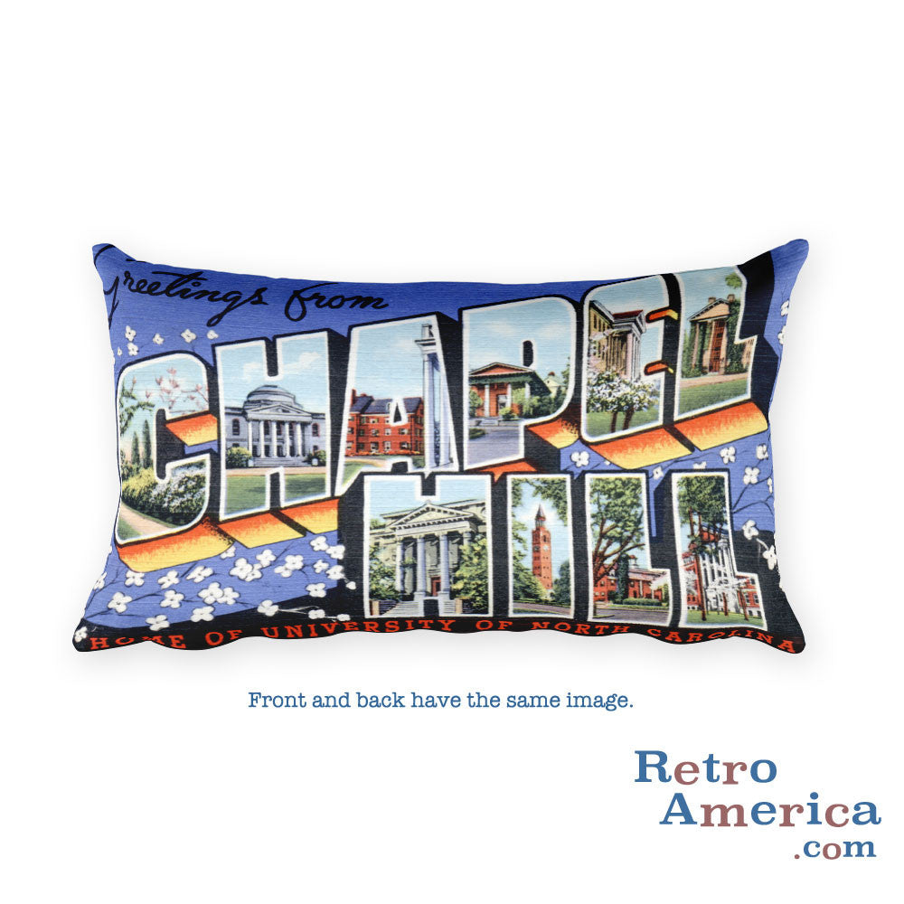 Greetings from Chapel Hill North Carolina Throw Pillow