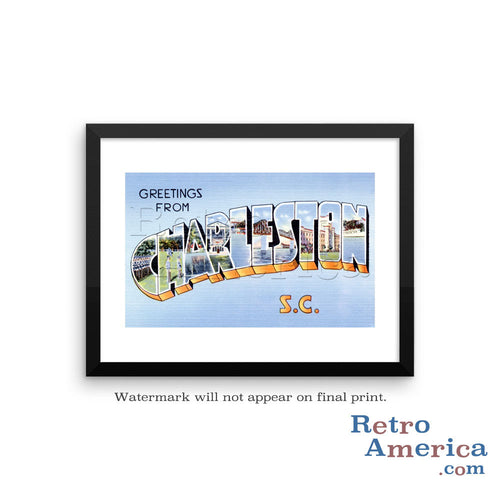 Greetings from Charleston South Carolina SC Postcard Framed Wall Art