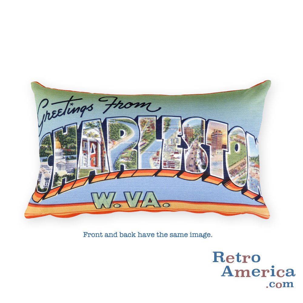 Greetings from Charleston West Virginia Throw Pillow 1