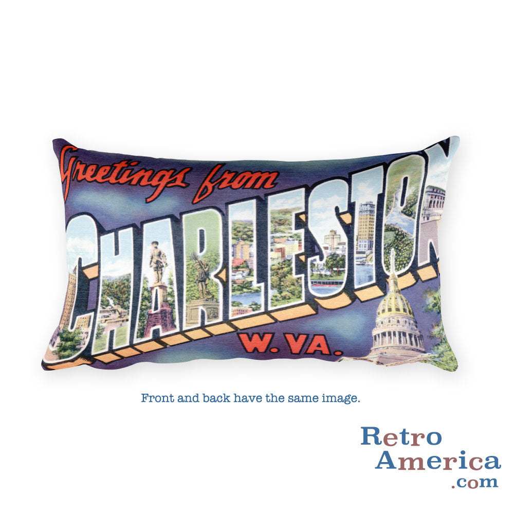 Greetings from Charleston West Virginia Throw Pillow 2