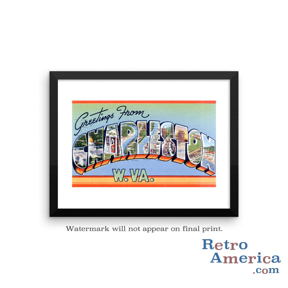 Greetings from Charleston West Virginia WV 1 Postcard Framed Wall Art