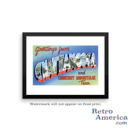 Greetings from Chattanooga Tennessee TN Postcard Framed Wall Art