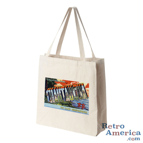 Greetings from Chautauqua New York NY Postcard Tote Bag