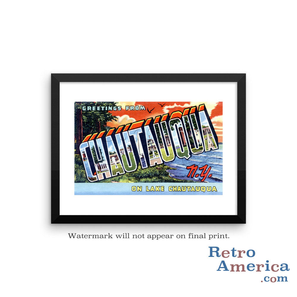 Greetings from Chautauqua New York NY Postcard Framed Wall Art