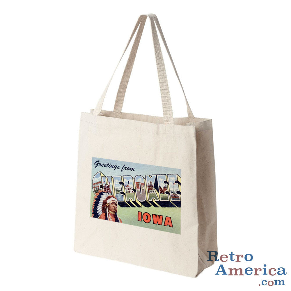 Greetings from Cherokee Iowa IA Postcard Tote Bag