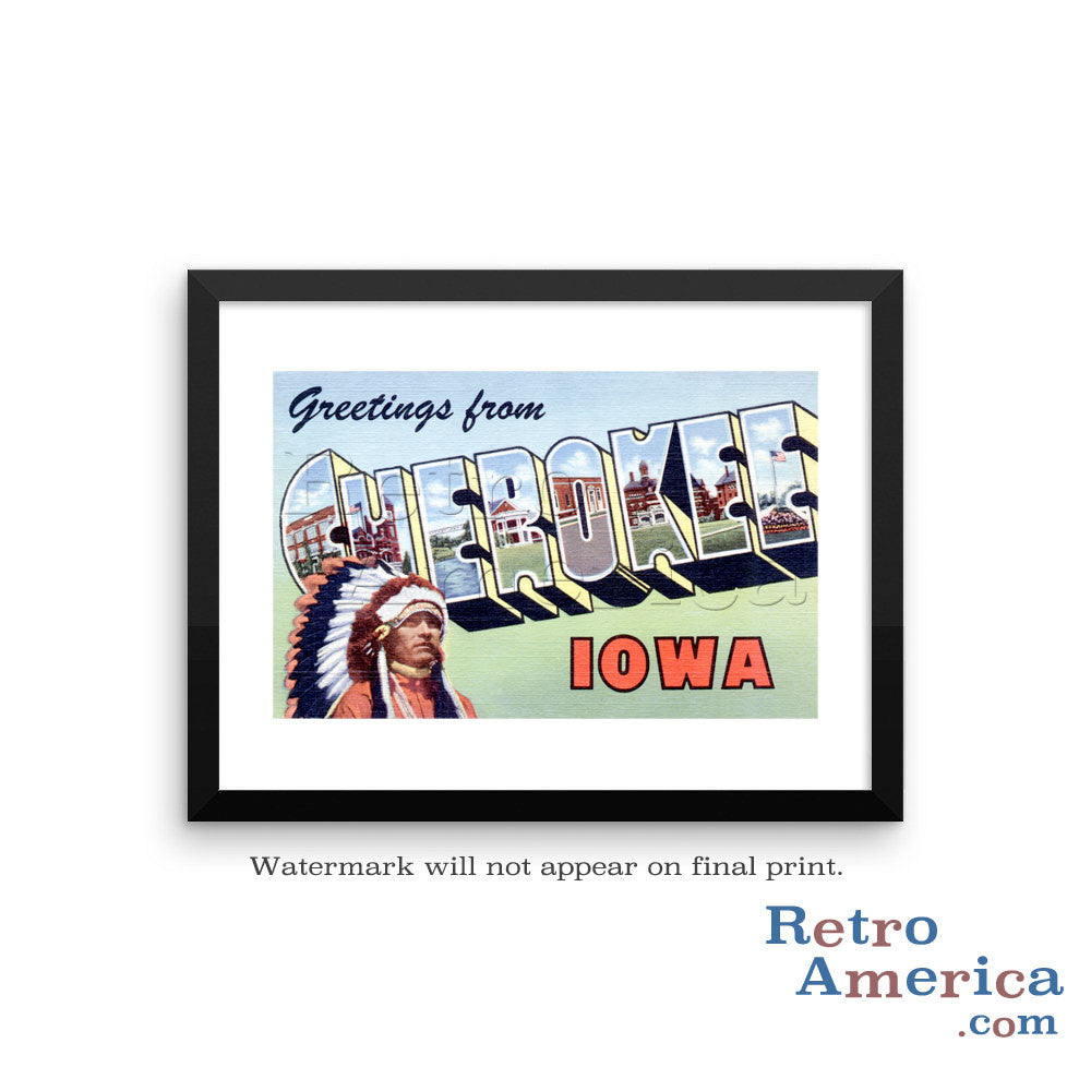 Greetings from Cherokee Iowa IA Postcard Framed Wall Art