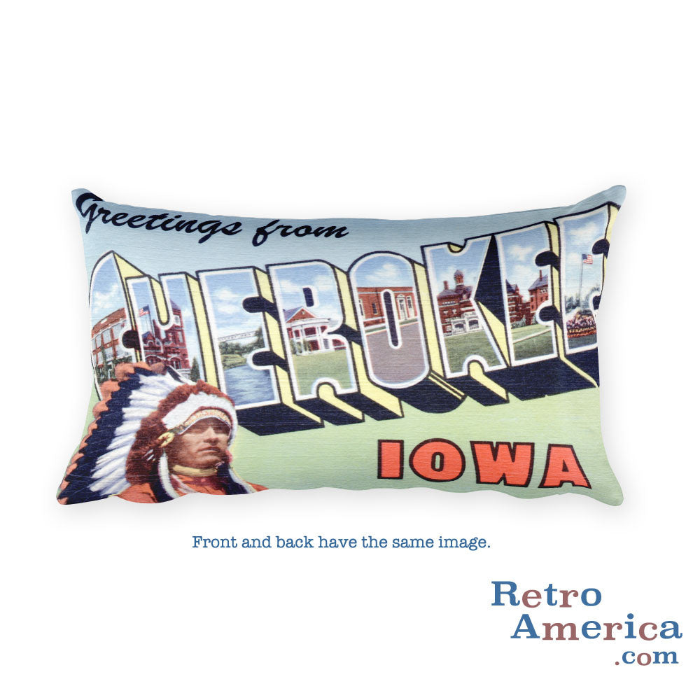 Greetings from Cherokee Iowa Throw Pillow