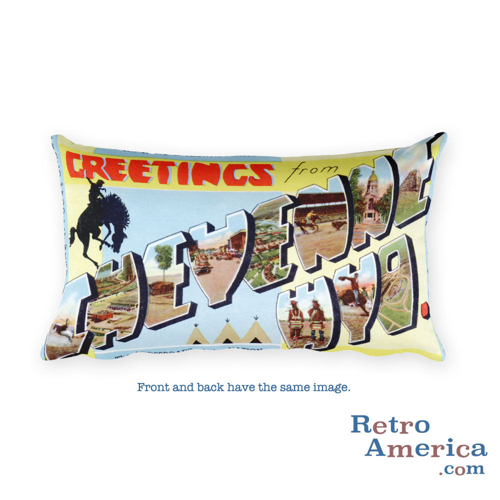 Greetings from Cheyenne Wyoming Throw Pillow