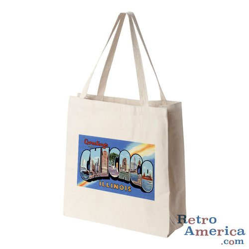 Greetings from Chicago Illinois IL 1 Postcard Tote Bag