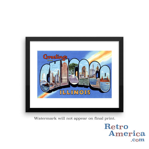 Greetings from Chicago Illinois IL 1 Postcard Framed Wall Art