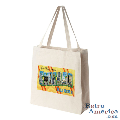Greetings from Chicago Illinois IL 2 Postcard Tote Bag