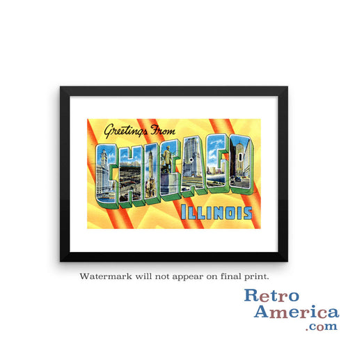 Greetings from Chicago Illinois IL 2 Postcard Framed Wall Art