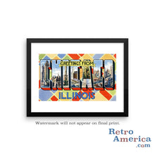 Greetings from Chicago Illinois IL 3 Postcard Framed Wall Art