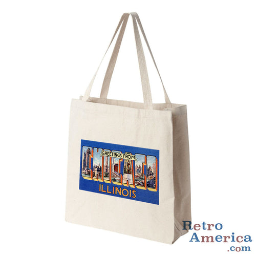 Greetings from Chicago Illinois IL 4 Postcard Tote Bag