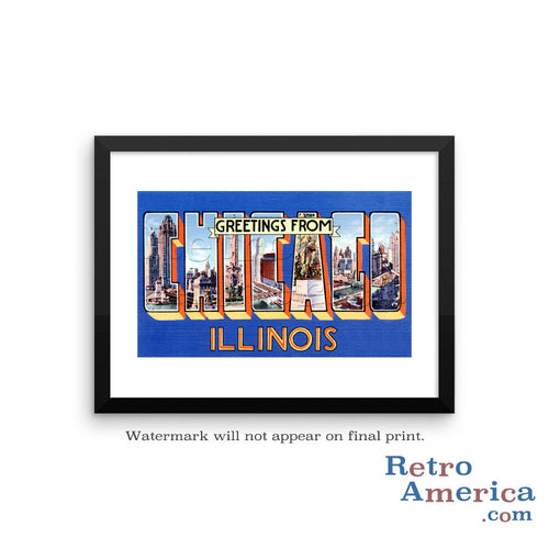 Greetings from Chicago Illinois IL 4 Postcard Framed Wall Art