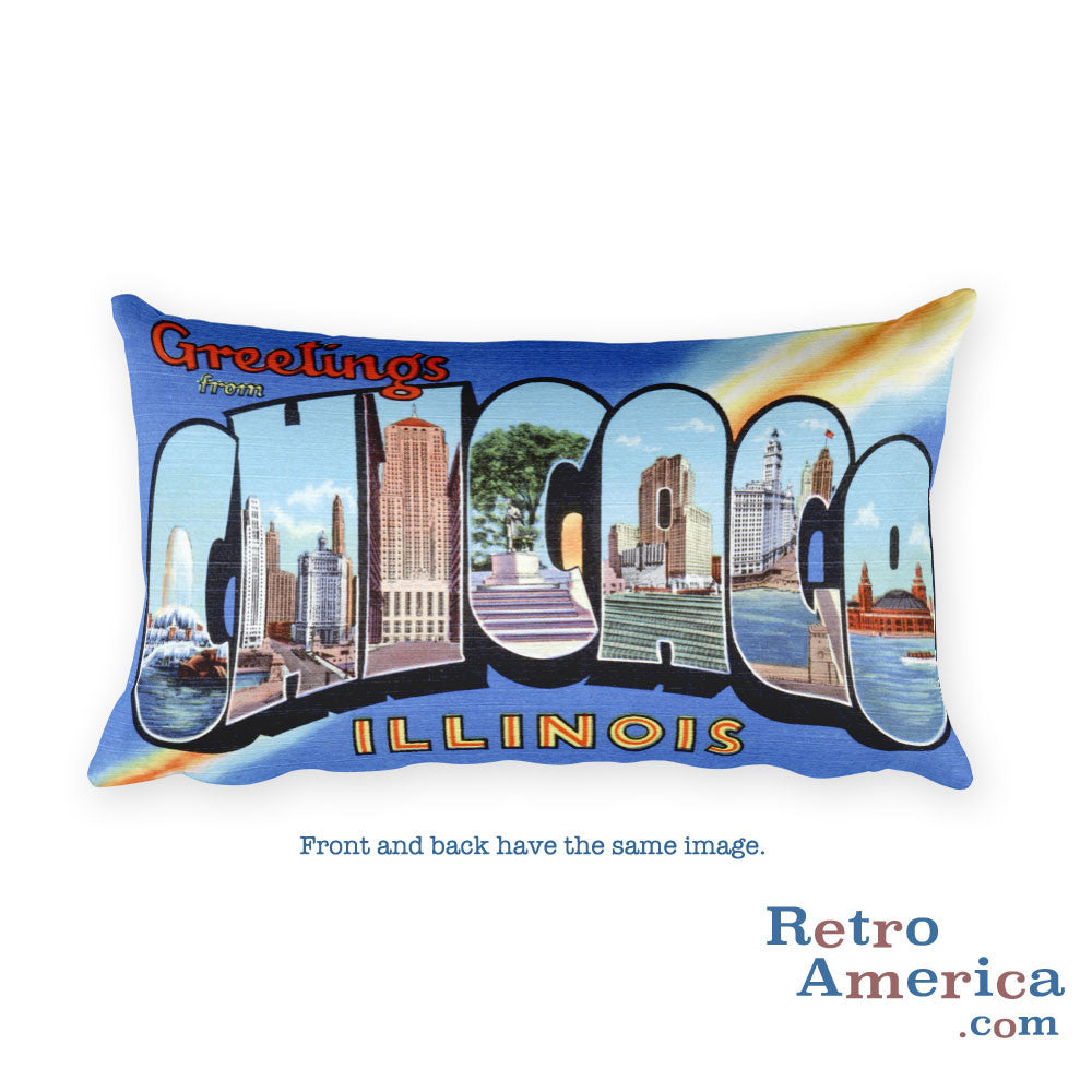 Greetings from Chicago Illinois Throw Pillow 1