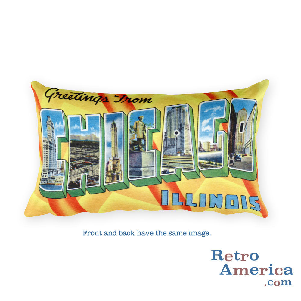 Greetings from Chicago Illinois Throw Pillow 2