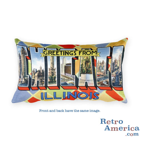 Greetings from Chicago Illinois Throw Pillow 3