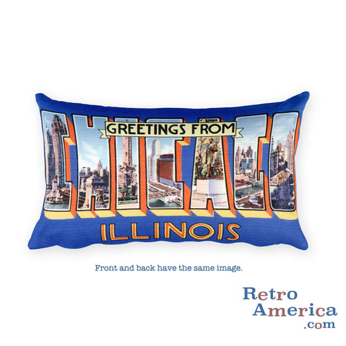 Greetings from Chicago Illinois Throw Pillow 4