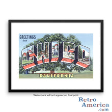 Greetings from Chico California CA Postcard Framed Wall Art