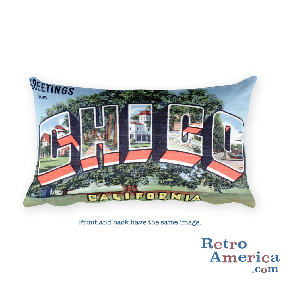 Greetings from Chico California Throw Pillow