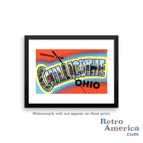 Greetings from Chillicothe Ohio OH Postcard Framed Wall Art