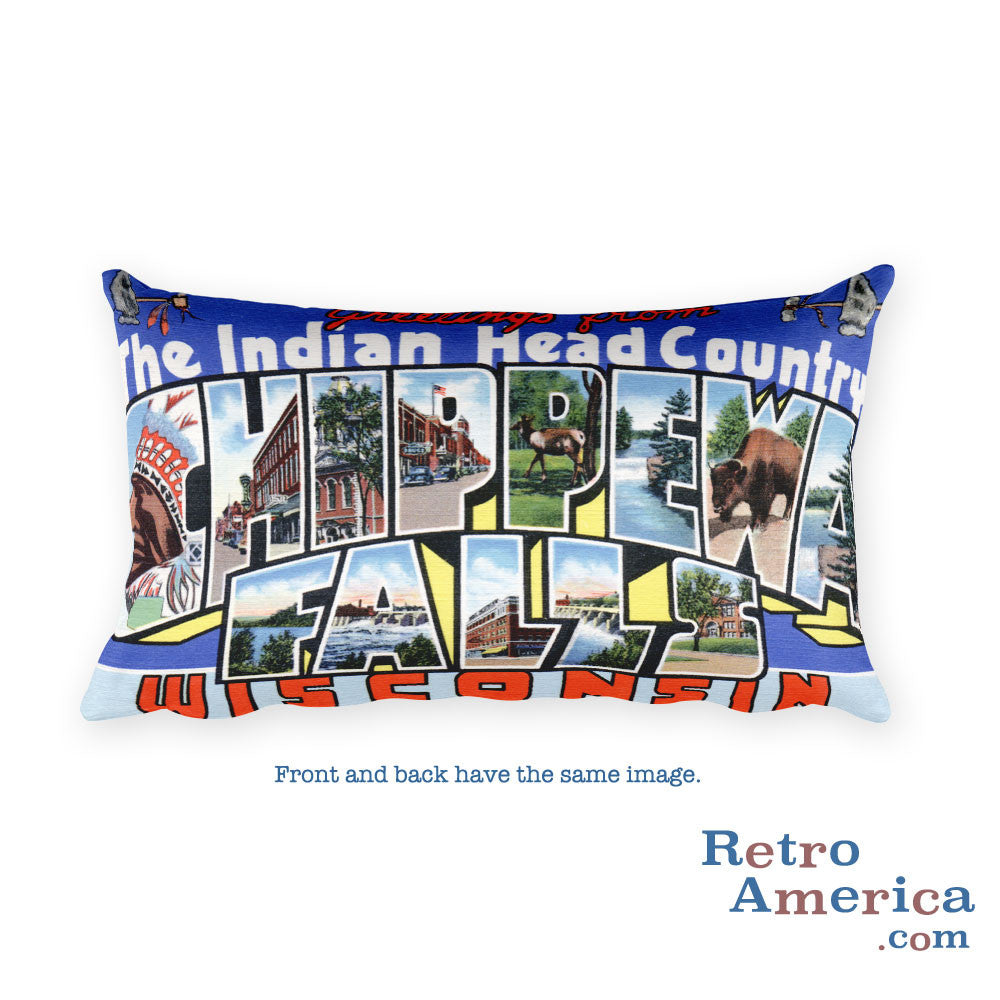 Greetings from Chippewa Falls Wisconsin Throw Pillow