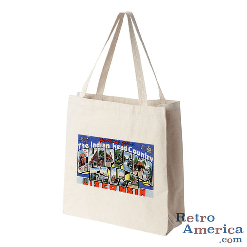 Greetings from Chippewa Falls Wisconsin WI Postcard Tote Bag