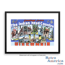 Greetings from Chippewa Falls Wisconsin WI Postcard Framed Wall Art