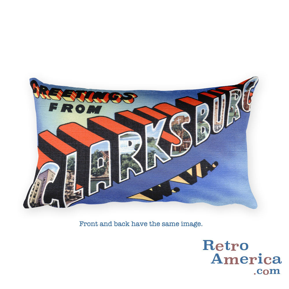 Greetings from Clarksburg West Virginia Throw Pillow