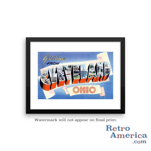 Greetings from Cleveland Ohio OH 1 Postcard Framed Wall Art
