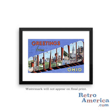 Greetings from Cleveland Ohio OH 2 Postcard Framed Wall Art
