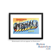 Greetings from Cleveland Ohio OH 3 Postcard Framed Wall Art