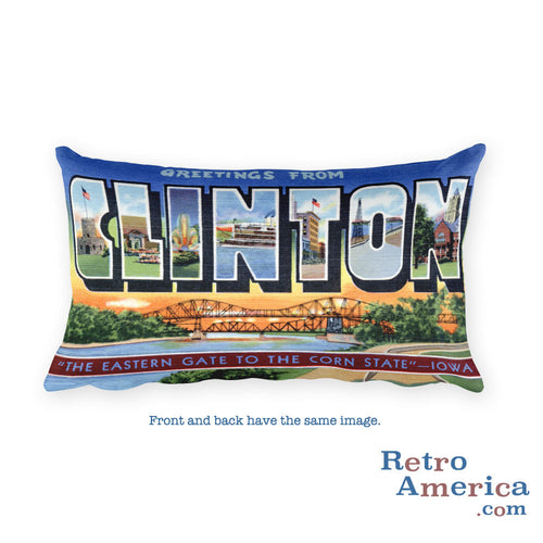Greetings from Clinton Iowa Throw Pillow