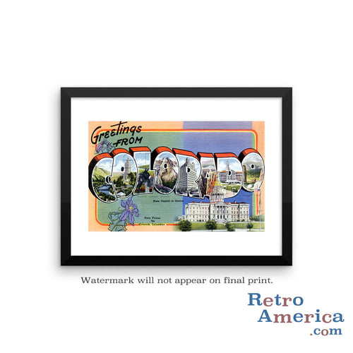 Greetings from Colorado CO 1 Postcard Framed Wall Art