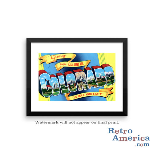 Greetings from Colorado CO 2 Postcard Framed Wall Art