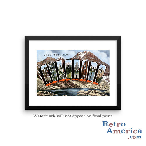 Greetings from Colorado CO 3 Postcard Framed Wall Art