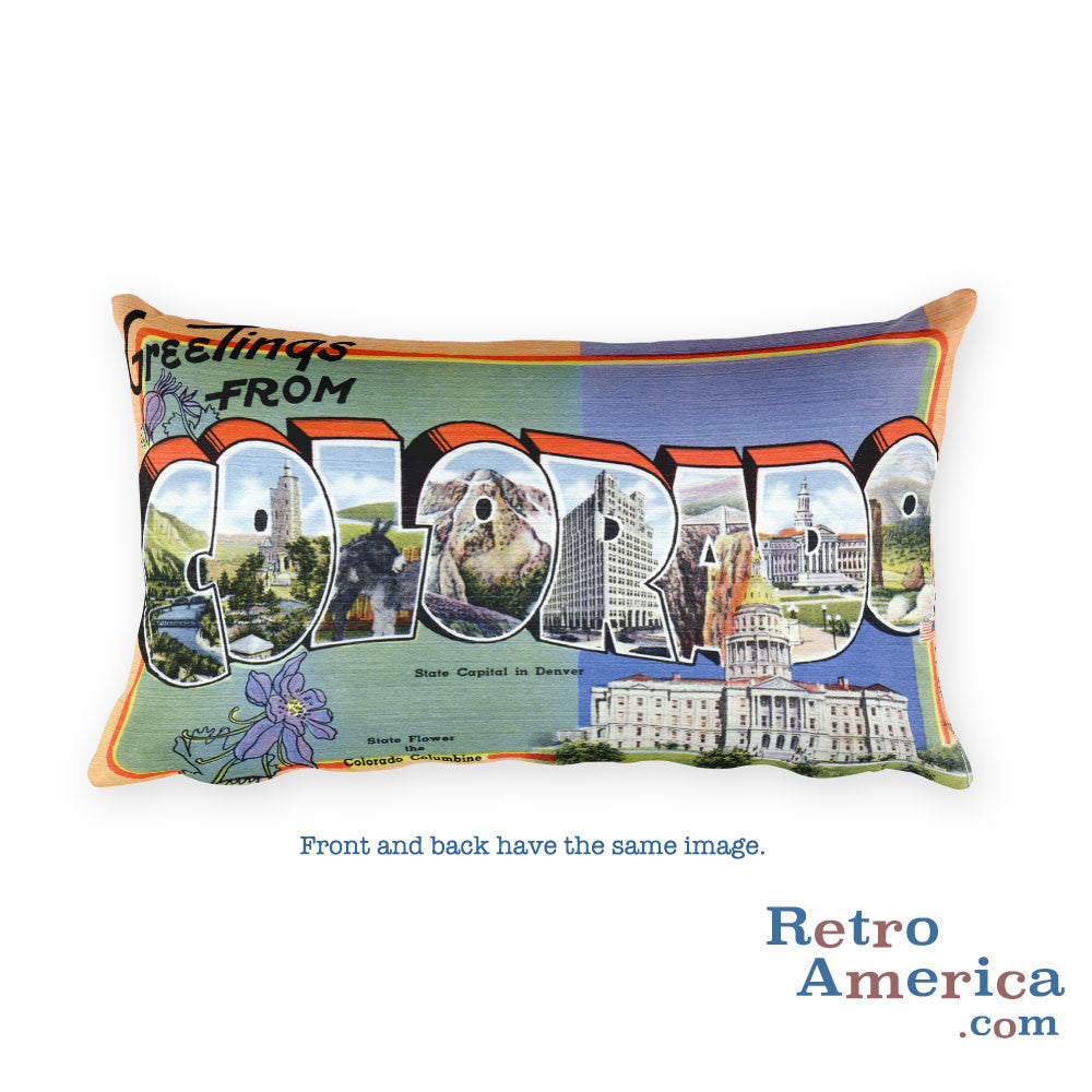 Greetings from Colorado Throw Pillow 1