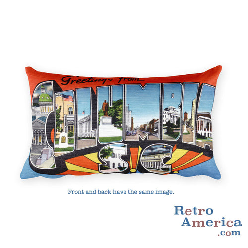 Greetings from Columbia South Carolina Throw Pillow 1
