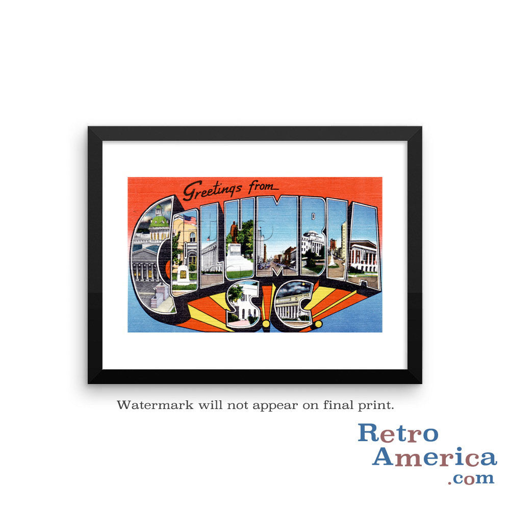 Greetings from Columbia South Carolina SC 1 Postcard Framed Wall Art