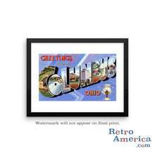 Greetings from Columbus Ohio OH 1 Postcard Framed Wall Art