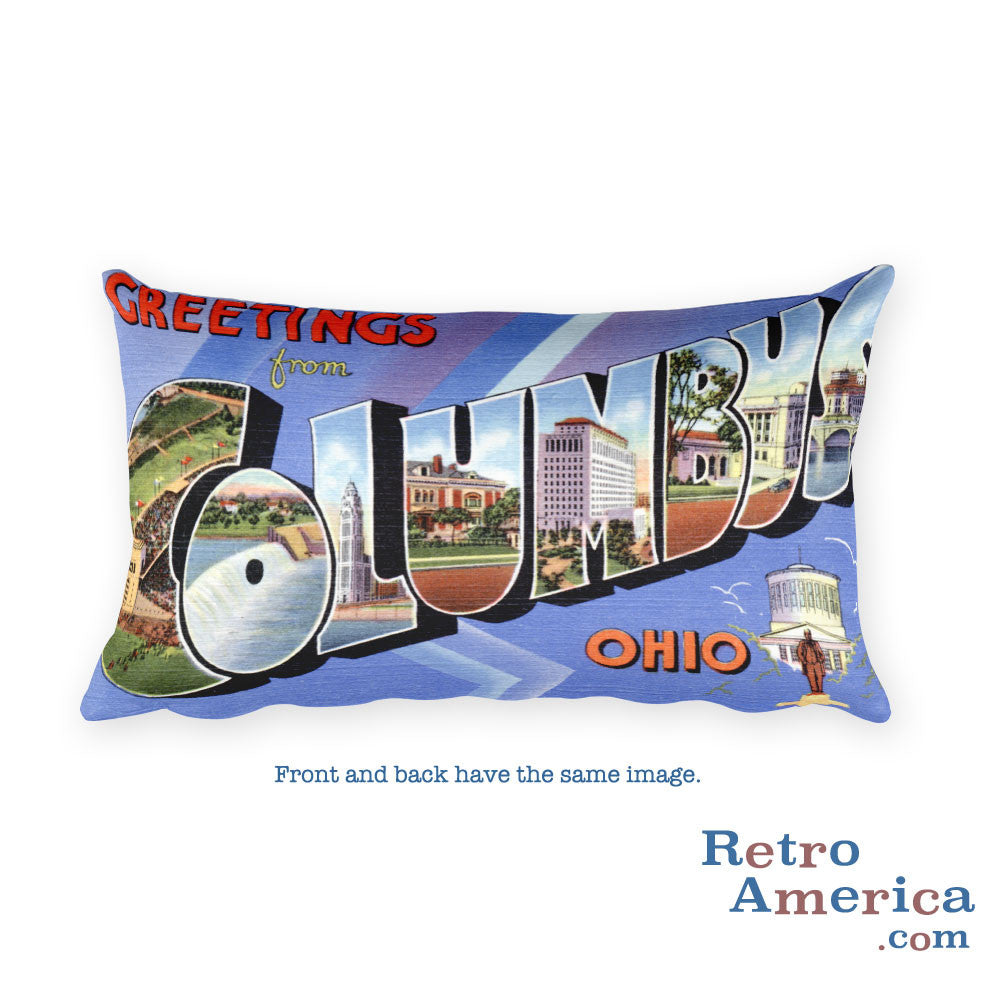 Greetings from Columbus Ohio Throw Pillow 1